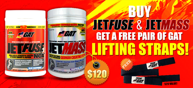Buy Jetfuse & JetMassGet a free pair of GAT LIFTING STRAPS!